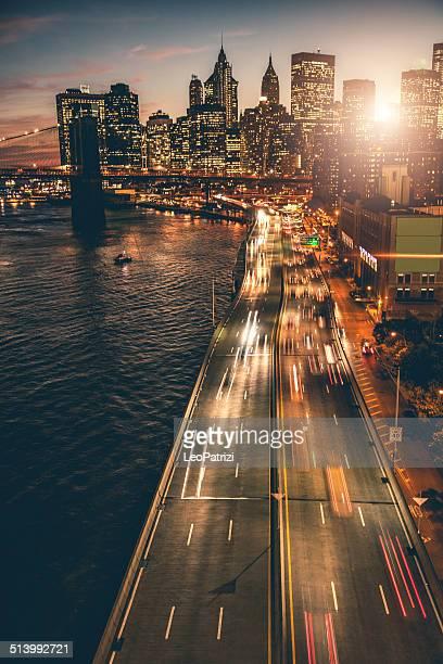 ニューヨークのダウンタウンのスカイラインの空からの眺め