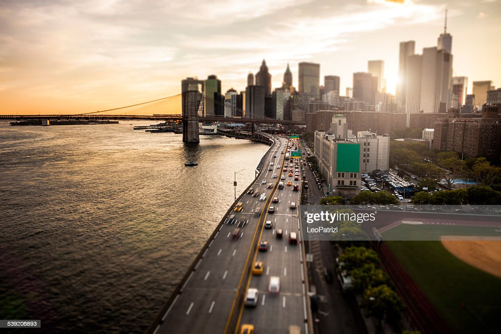 New York Downtown skyline - Aerial View : Stock Photo