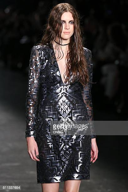 EVENTS New York Fashion Week 2016 Pictured A model walks the runway at the Tadashi Shoji Fall 2016 Collection presentation during New York Fashion...