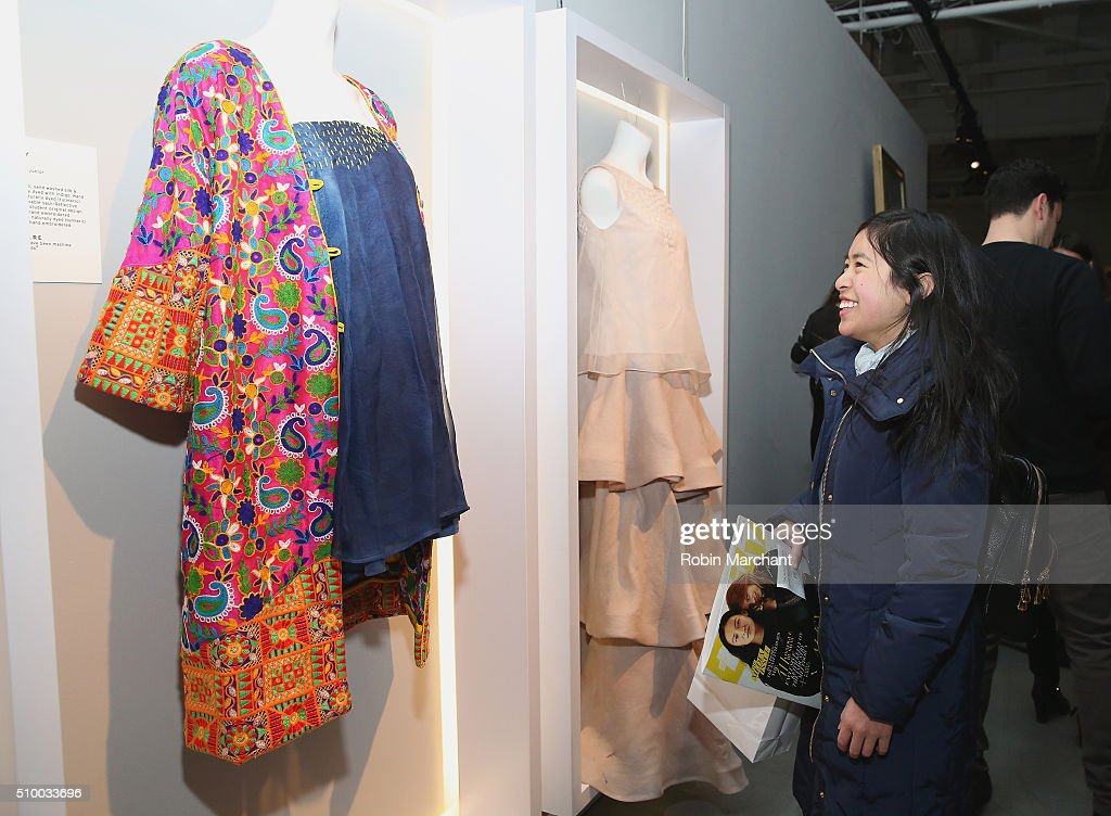 New York Fashion Week attendees enjoy displays at the Fall 2016 New York Fashion Week at the Gallery, Skylight at Clarkson Sq on February 13, 2016 in New York City.