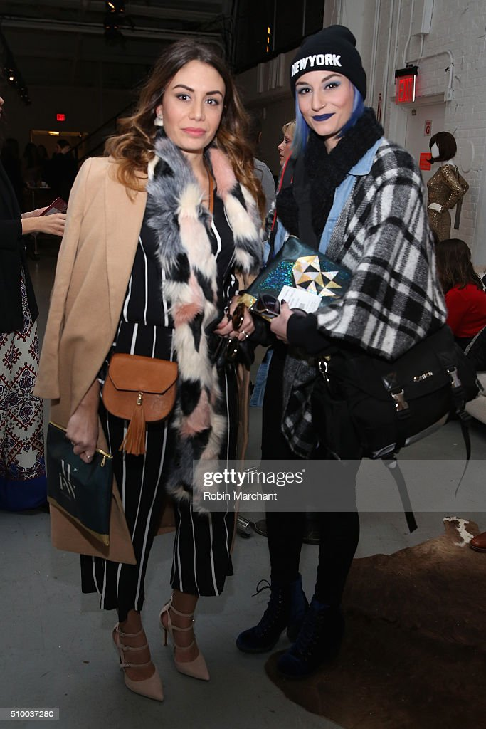 New York Fashion Week attendees pose in The Lounge at the Fall 2016 New York Fashion Week at the Gallery, Skylight at Clarkson Sq on February 13, 2016 in New York City.