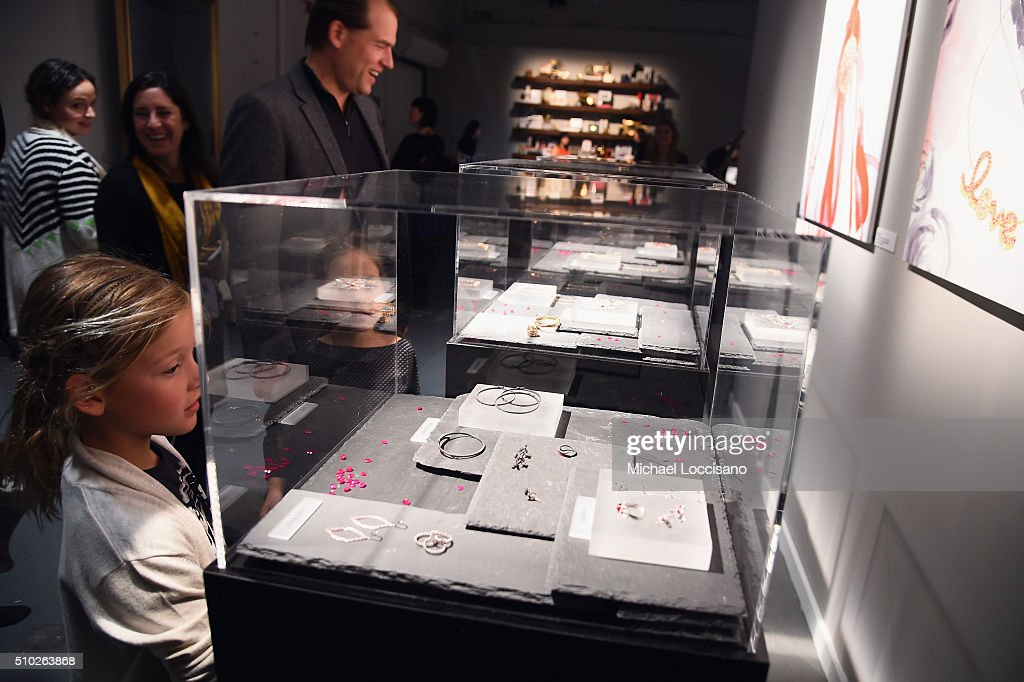 New York Fashion Week attendees visit the Gemfields display at The Gallery, Skylight at Clarkson Sq at Fall 2016 New York Fashion Week on February 14, 2016 in New York City.