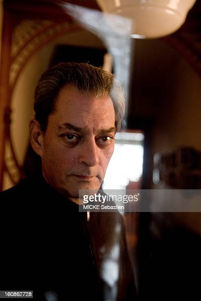 Paul Auster author of 'Invisible' in ed Actes Sud receives 'Paris Match' with him at his home in Brooklyn portrait of American writer