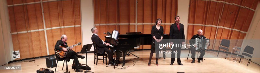 New York Festival of Song presents 'Jacques Brel & Charles Trenet: Fire and Fantasy' at Merkin Concert Hall on Tuesday night, February 19, 2013This image:Marie Lenormand and Philippe Pierce with, from left, Greg Utzig on guitar, Steven Blier on piano and Bill Schimmel on accordion.