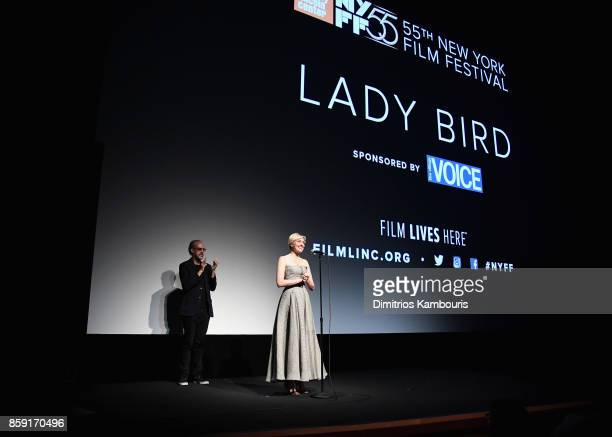 New York Film Festival director Kent Jones and writer Greta Gerwig onstage during 55th New York Film Festival screening of 'Lady Bird' at Alice Tully...