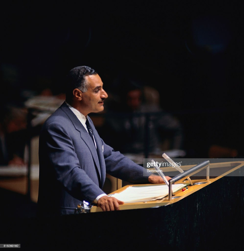 Gamal Abdel Nasser addresses the United Nations General Assembly here Nasser called for a personal meeting between President Eisenhower and Premier...
