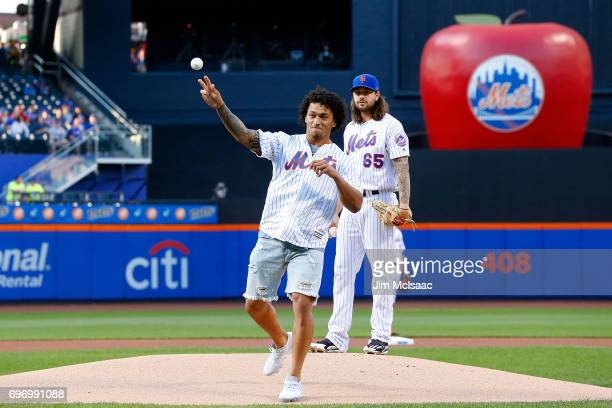 New York Giants 2017 first round draft pick Evan Engram throws the ceremonial first pitch of a game between the New York Mets and the Washington...
