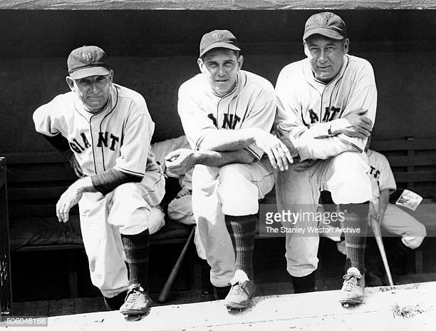 New York Giants board of strategy for the 1933 World Series left to right Tommy Clarke coach Bill Terry manager and Frank Snyder coach pose for a...