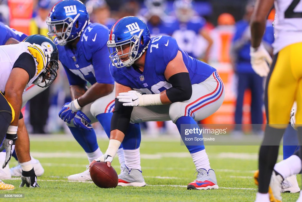 New York Giants center Weston Richburg (70) during the Preseason National Football League game between the New York Giants and the Pittsburgh Steelers on August 11, 2017, at Met Life Stadium in East Rutherford, NJ.