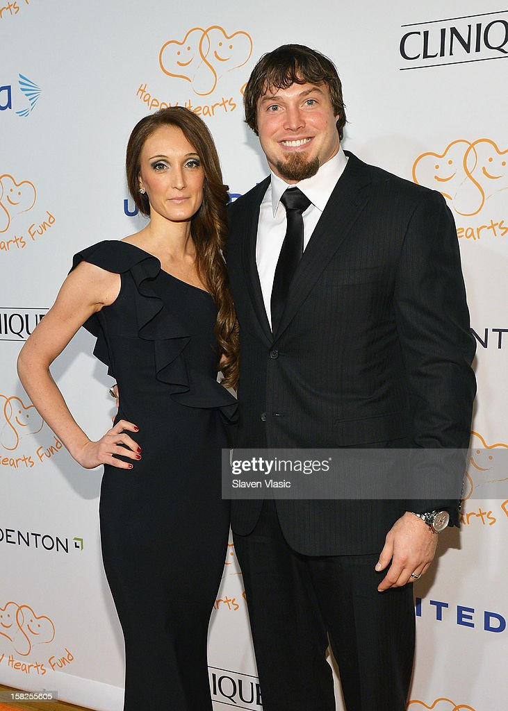 New York Giants' Chase Blackburn and wife Megan Blackburn attend the 2012 Happy Hearts Fund Land Of Dreams Mexico Gala at Metropolitan Pavilion on...