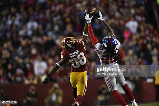 New York Giants cornerback Janoris Jenkins breaks up a pass intended for Washington Redskins wide receiver Pierre Garcon in the second quarter of the...