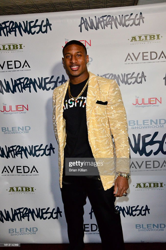 New York Giants cornerback Justin Tryon attends the Anna Francesca Presentation during Fall 2013 MercedesBenz Fashion Week at Tammany Hall on...