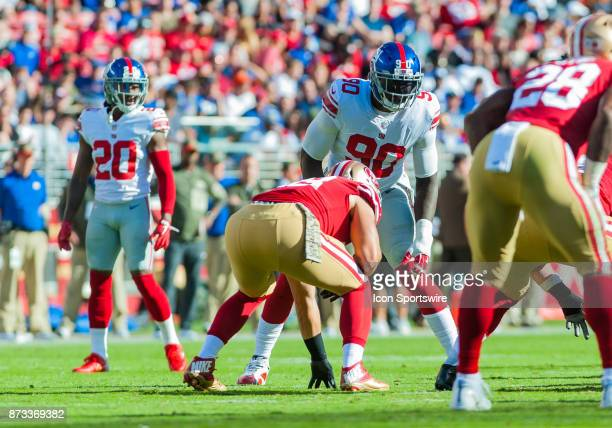 New York Giants defensive end Jason PierrePaul gets set to charge the ball handler during the regular season game between the San Francisco 49ers and...