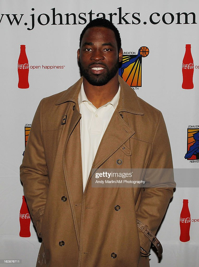 New York Giants defensive end Justin Tuck poses for a photo during the John Starks Foundation Celebrity Bowling Tournament on February 25, 2013 in New York City.