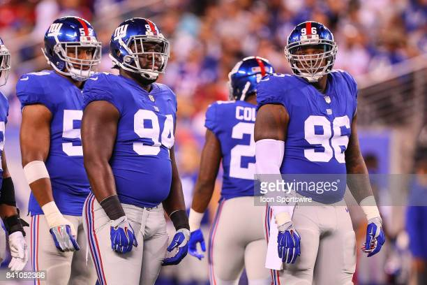 New York Giants defensive tackle Dalvin Tomlinson and New York Giants defensive tackle Jay Bromley during the National Football League preseason game...