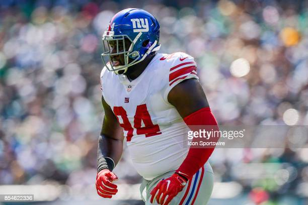 New York Giants defensive tackle Dalvin Tomlinson looks on during the NFL game between the New York Giants and the Philadelphia Eagles on September...