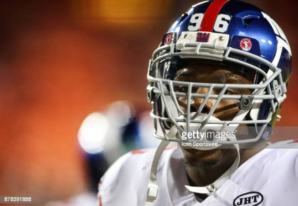 New York Giants defensive tackle Jay Bromley on the field before a NFL game between the Washington Redskins and the New York Giants on November 23 at...