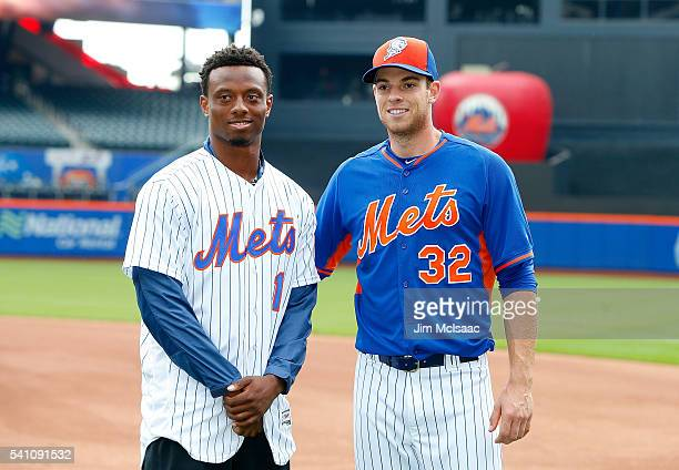 New York Giants first round draft pick Eli Apple poses for a photograph with Steven Matz of the New York Mets as he attends a game between Mets and...