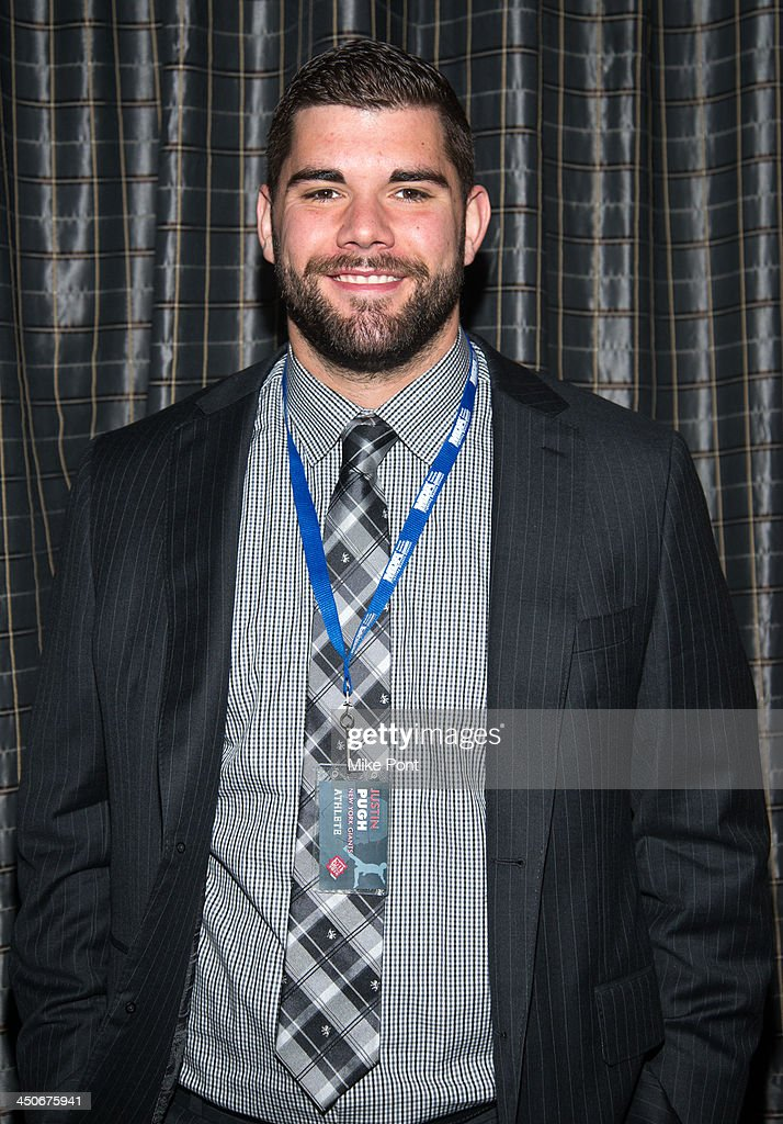 New York Giants football player <a gi-track='captionPersonalityLinkClicked' href=/galleries/search?phrase=Justin+Pugh&family=editorial&specificpeople=7204721 ng-click='$event.stopPropagation()'>Justin Pugh</a> attends MDA's 17th Annual Muscle Team Benefit and Gala at The Lighthouse at Chelsea Piers on November 19, 2013 in New York City.