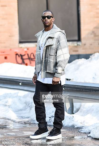 New York Giants Football Player Victor Cruz is seen outside of the Robert Geller show during New York Fashion Week Men's Fall/Winter 2016 on February...
