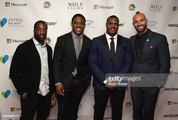 New York Giants football players Andre Williams Devon Kennard Jasper Brinkley and Mark Herzlich attends The Joyful Revolution Gala hosted by Mariska...
