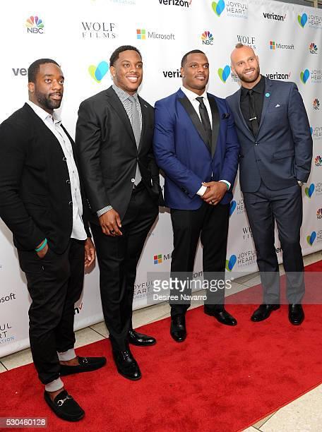 New York Giants football players Andre Williams Devon Kennard Jasper Brinkley and Mark Herzlich attend 2016 Joyful Revolution Gala on May 10 2016 in...