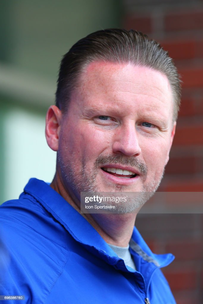 New York Giants head coach Ben McAdoo is interviewed at the end of practice during New York Giants Mini Camp on June 14, 2017 at the Quest Diagnostics Training Center in East Rutherford, NJ.