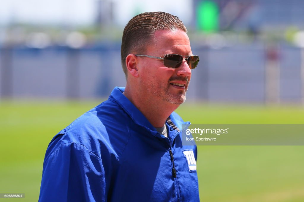 New York Giants head coach Ben McAdoo leaves the field at the end of practice during New York Giants Mini Camp on June 14, 2017 at the Quest Diagnostics Training Center in East Rutherford, NJ.