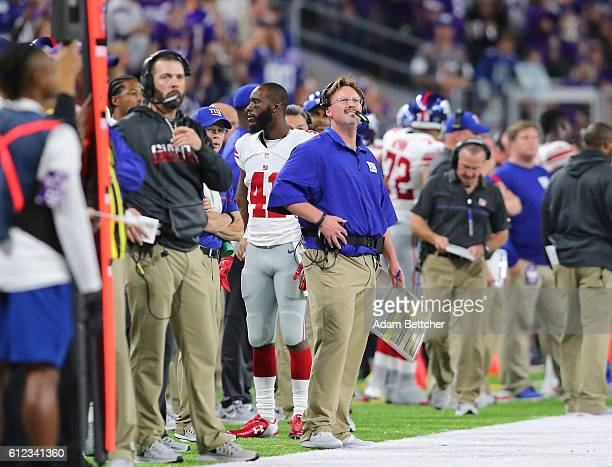 New York Giants head coach Ben McAdoo on the sidelines of the game against the Minnesota Vikings on October 3 2016 at US Bank Stadium in Minneapolis...