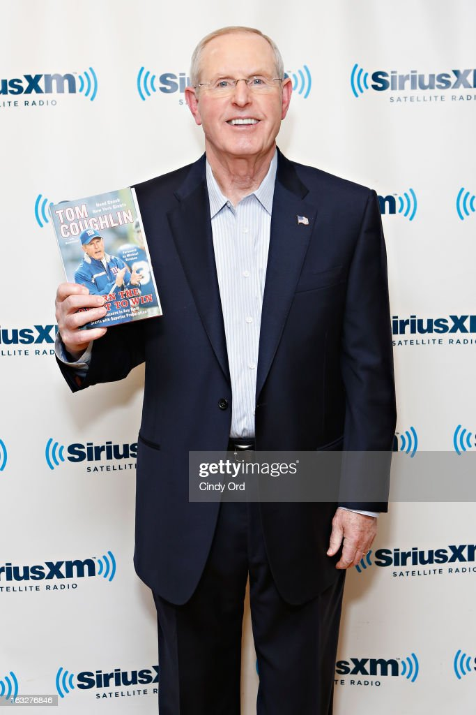 New York Giants head coach <a gi-track='captionPersonalityLinkClicked' href=/galleries/search?phrase=Tom+Coughlin&family=editorial&specificpeople=206312 ng-click='$event.stopPropagation()'>Tom Coughlin</a> visits the SiriusXM Studios on March 6, 2013 in New York City.