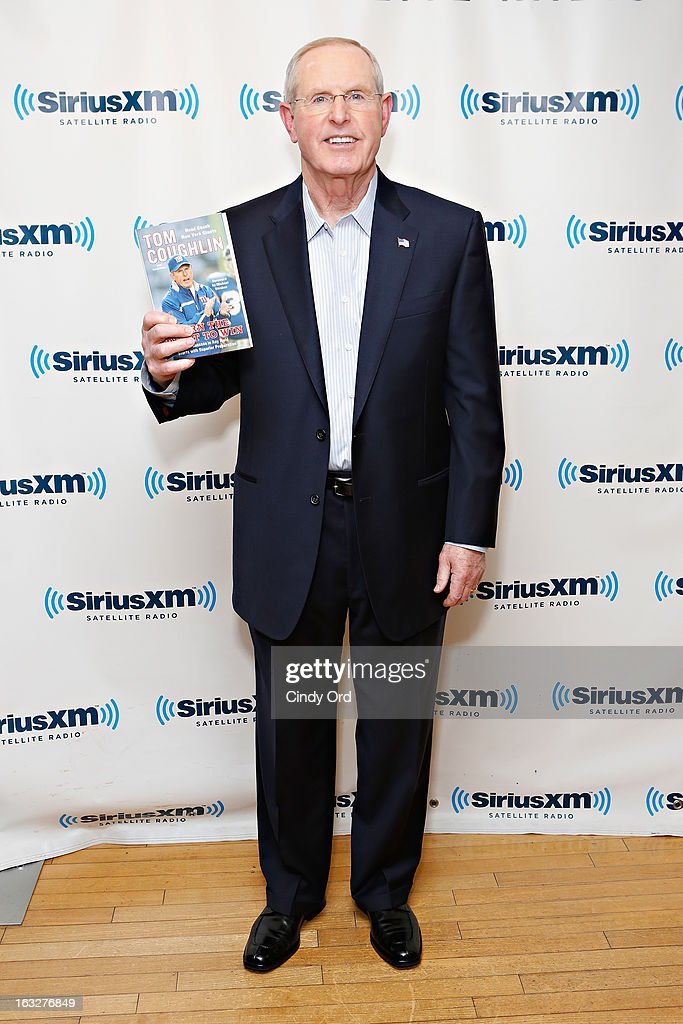 New York Giants head coach Tom Coughlin visits the SiriusXM Studios on March 6, 2013 in New York City.