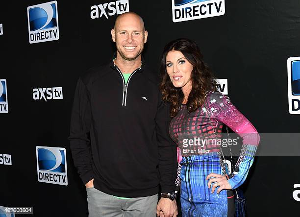 New York Giants kicker Josh Brown and Molly Brown attend DirecTV Super Saturday Night hosted by Mark Cuban's AXS TV and Pro Football Hall of Famer...