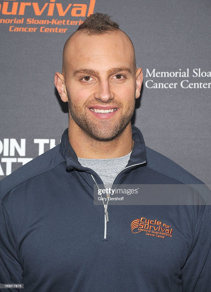 New York Giants linebacker <a gi-track='captionPersonalityLinkClicked' href=/galleries/search?phrase=Mark+Herzlich&family=editorial&specificpeople=4036682 ng-click='$event.stopPropagation()'>Mark Herzlich</a> attends the 2013 Cycle For Survival Benefit at Equinox Rock Center on March 3, 2013 in New York City.