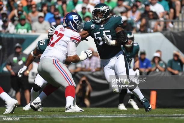 New York Giants offensive guard Justin Pugh blocks Philadelphia Eagles defensive end Brandon Graham during a NFL football game between the New York...