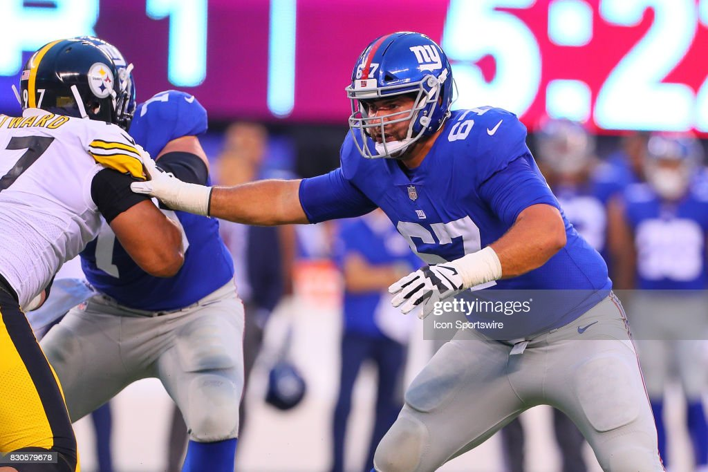 New York Giants offensive guard Justin Pugh (67) during the Preseason National Football League game between the New York Giants and the Pittsburgh Steelers on August 11, 2017, at Met Life Stadium in East Rutherford, NJ.