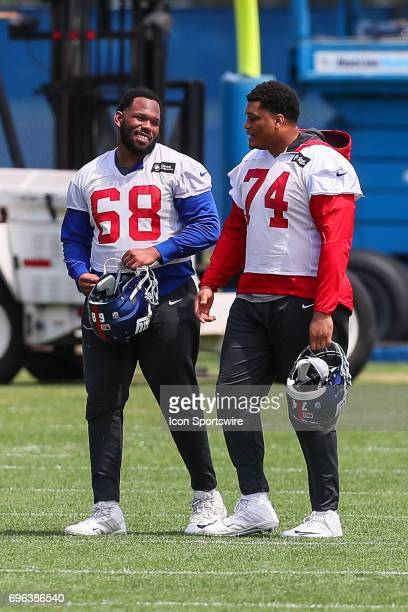 New York Giants offensive tackle Bobby Hart and New York Giants offensive tackle Ereck Flowers walk in at the end of practice during New York Giants...
