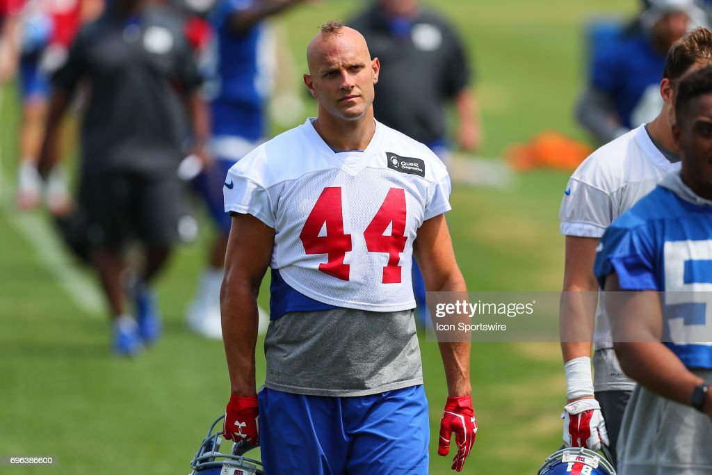 New York Giants outside linebacker Mark Herzlich (44) walks in at the end of practice during New York Giants Mini Camp on June 14, 2017 at the Quest Diagnostics Training Center in East Rutherford, NJ.