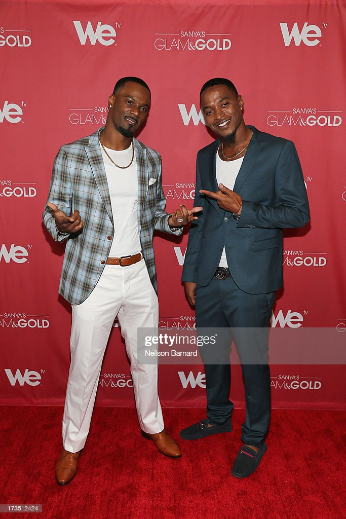 New York Giants player Aaron Ross and SG&G cast member Tyrell Gatewood attend the WE tv screening for 'Sanya's Glam & Gold' at The Gansevoort Park Ave on July 15, 2013 in New York City. Series premieres Thursday, July 25th at 10pm ET on WE tv.