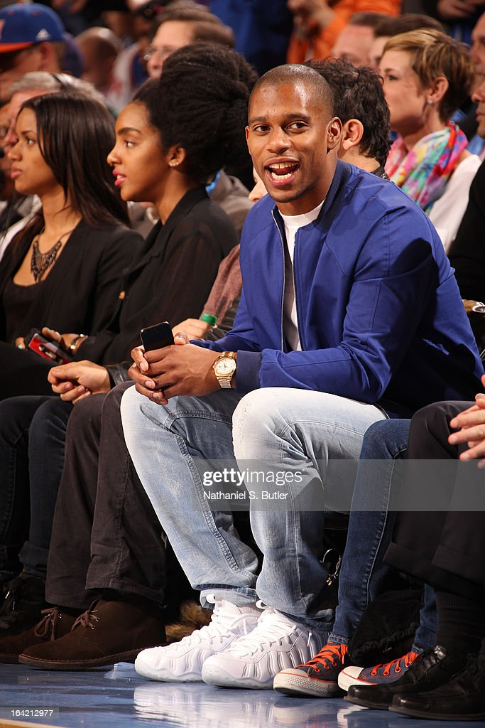 New York Giants player and Super Bowl Champion, Victor Cruz, attends a game between the New York Knicks and the Orlando Magic on March 20, 2013 at Madison Square Garden in New York City.