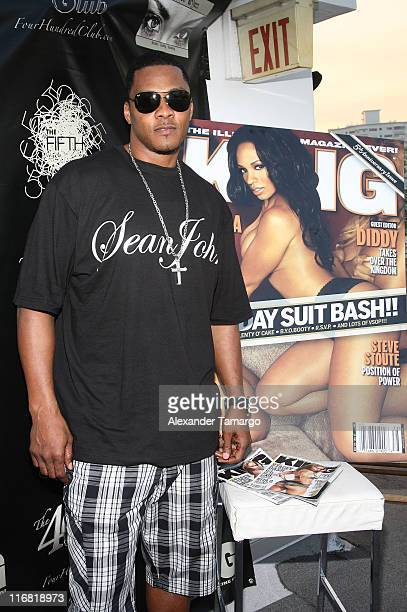New York Giants player Carlos Emmons poses during the Hazel Eyez Experience at The Catalina Hotel on May 4 2008 in Miami Beach Florida