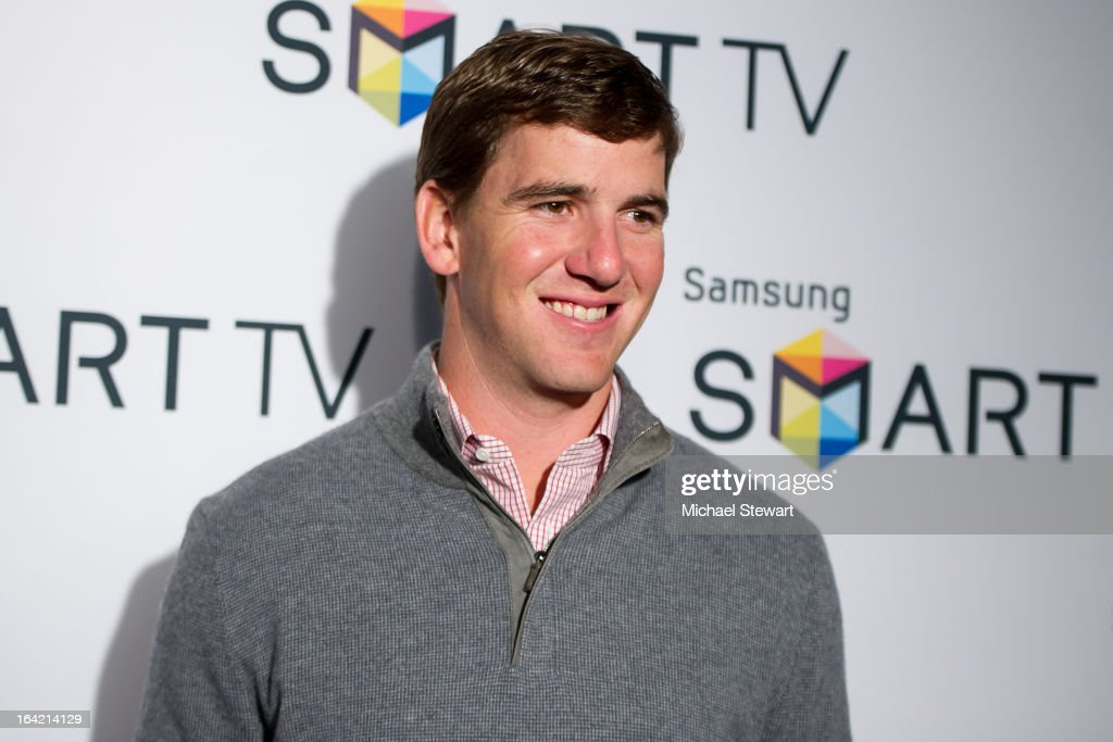 New York Giants player Eli Manning attends The Samsung Spring 2013 Launch at the Museum Of American Finance on March 20, 2013 in New York City.