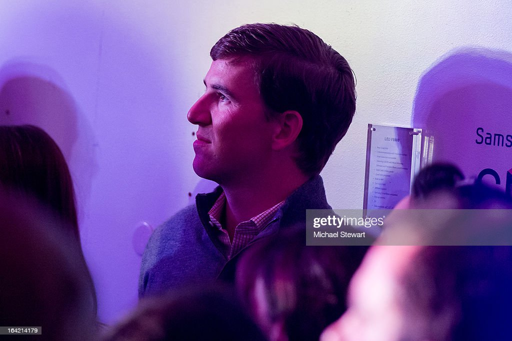 New York Giants player <a gi-track='captionPersonalityLinkClicked' href=/galleries/search?phrase=Eli+Manning&family=editorial&specificpeople=202013 ng-click='$event.stopPropagation()'>Eli Manning</a> attends The Samsung Spring 2013 Launch at the Museum Of American Finance on March 20, 2013 in New York City.