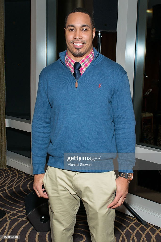 New York Giants player Travis Beckum attends Lonneke Engel And Valentina Zelyaeva Organice Your Life Annual Holiday Party at Time Warner Building on December 14, 2012 in New York City.