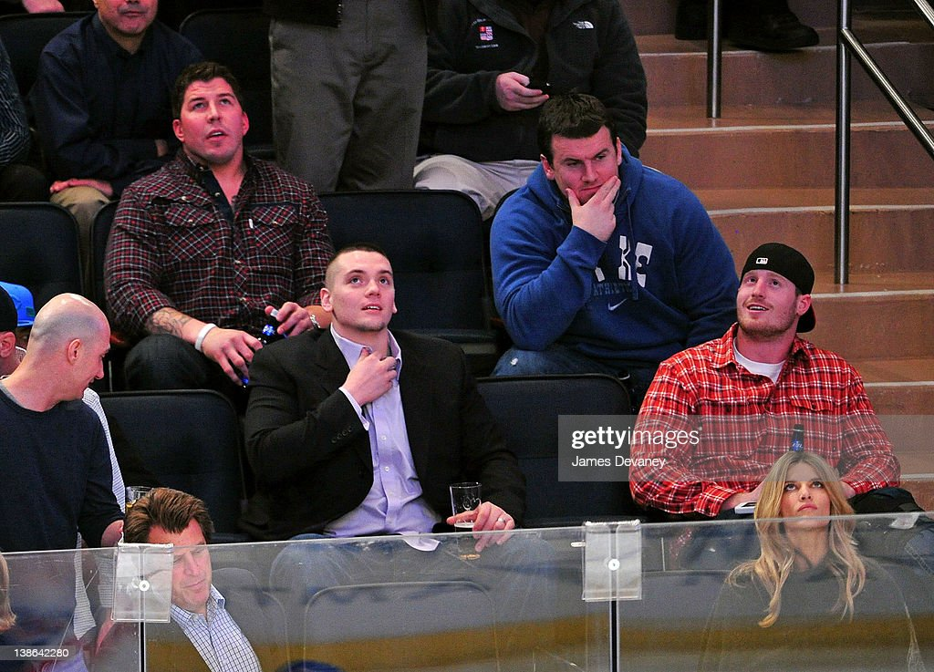 New York Giants players attend the Tampa Bay Lightning vs the New York Rangers game at Madison Square Garden on February 9, 2012 in New York City.