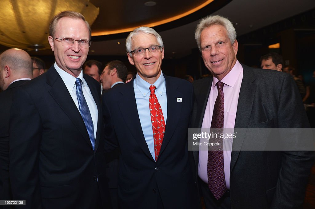 New York Giants President, CEO & co-owner John Mara, executive director of NRDC Peter Lehne and New York Giants chairman <a gi-track='captionPersonalityLinkClicked' href=/galleries/search?phrase=Steve+Tisch&family=editorial&specificpeople=235783 ng-click='$event.stopPropagation()'>Steve Tisch</a> attend the 2013 Natural Resources Defense Council Game Changer Awards at the Mandarin Oriental Hotel on March 14, 2013 in New York City.