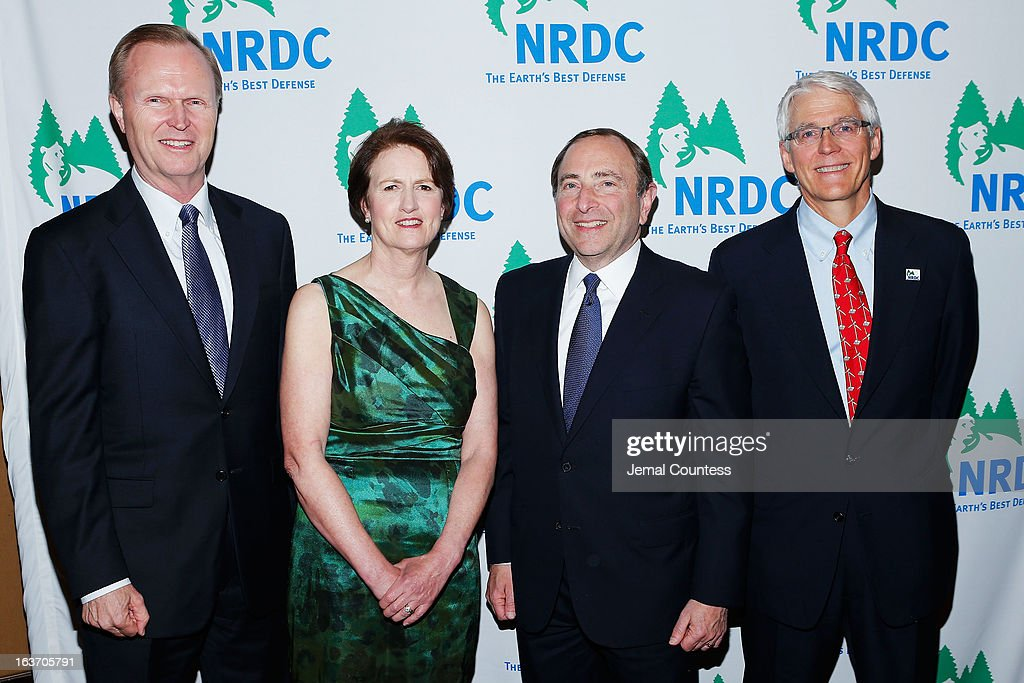 New York Giants President, CEO & co-owner John Mara, NRDC President Frances Beinecke, NHL Commissioner <a gi-track='captionPersonalityLinkClicked' href=/galleries/search?phrase=Gary+Bettman&family=editorial&specificpeople=215089 ng-click='$event.stopPropagation()'>Gary Bettman</a>, and executive director of NRDC Peter Lehner attend the 2013 Natural Resources Defense Council Game Changer Awards at the Mandarin Oriental Hotel on March 14, 2013 in New York City.