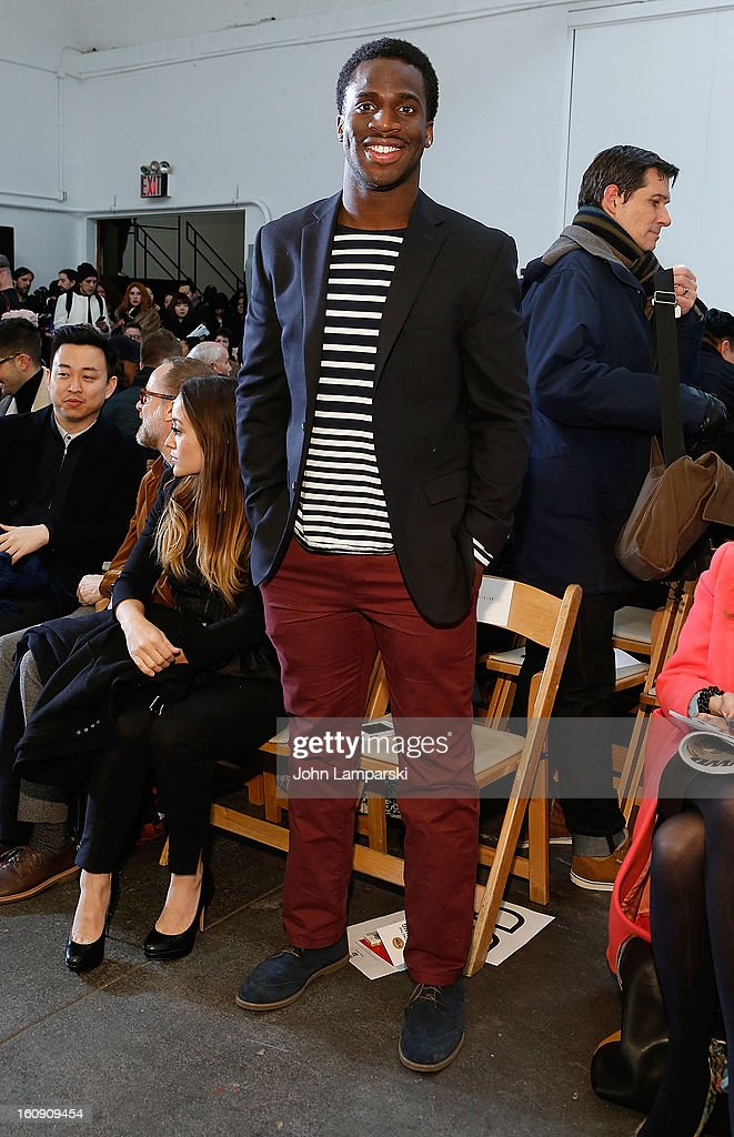 New York Giants Prince Amukamara attends Duckie Brown during Fall 2013 Mercedes-Benz Fashion Week at Industria Superstudio on February 7, 2013 in New York City.