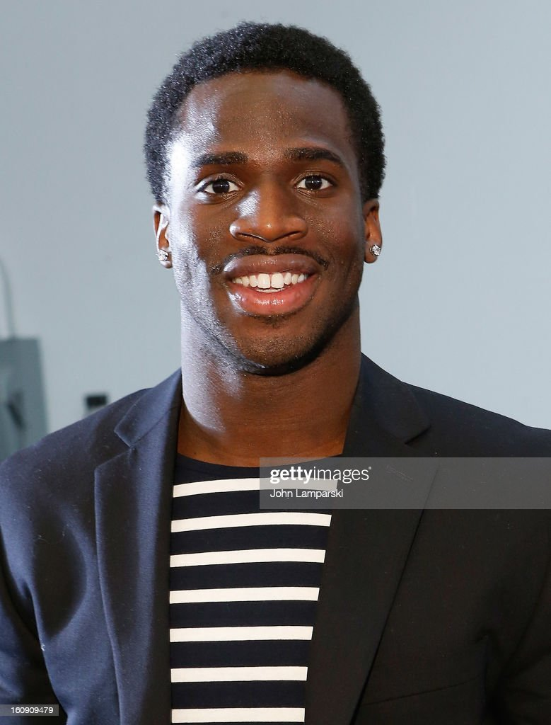 New York Giants <a gi-track='captionPersonalityLinkClicked' href=/galleries/search?phrase=Prince+Amukamara&family=editorial&specificpeople=6357867 ng-click='$event.stopPropagation()'>Prince Amukamara</a> attends Duckie Brown during Fall 2013 Mercedes-Benz Fashion Week at Industria Superstudio on February 7, 2013 in New York City.