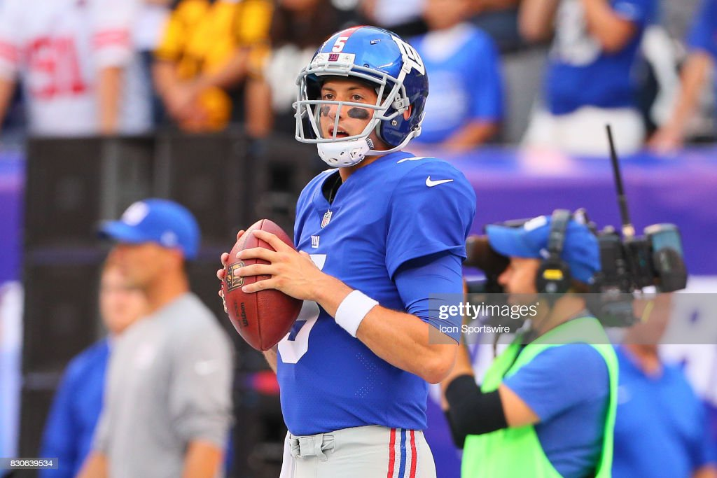 New York Giants quarterback Davis Webb (5) prior to the Preseason National Football League game between the New York Giants and the Pittsburgh Steelers on August 11, 2017, at Met Life Stadium in East Rutherford, NJ.