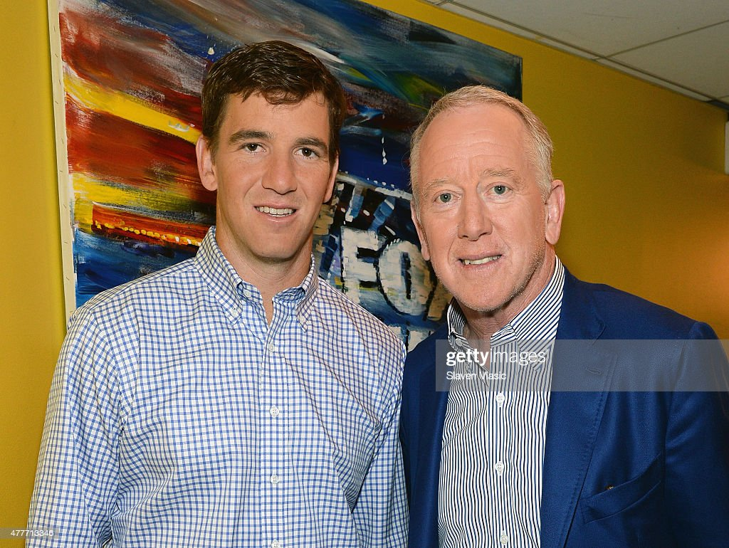 New York Giants' quarterback <a gi-track='captionPersonalityLinkClicked' href=/galleries/search?phrase=Eli+Manning&family=editorial&specificpeople=202013 ng-click='$event.stopPropagation()'>Eli Manning</a> (L) and his father <a gi-track='captionPersonalityLinkClicked' href=/galleries/search?phrase=Archie+Manning&family=editorial&specificpeople=453294 ng-click='$event.stopPropagation()'>Archie Manning</a> visit 'Fox & Friends' at FOX Studios on June 19, 2015 in New York City.